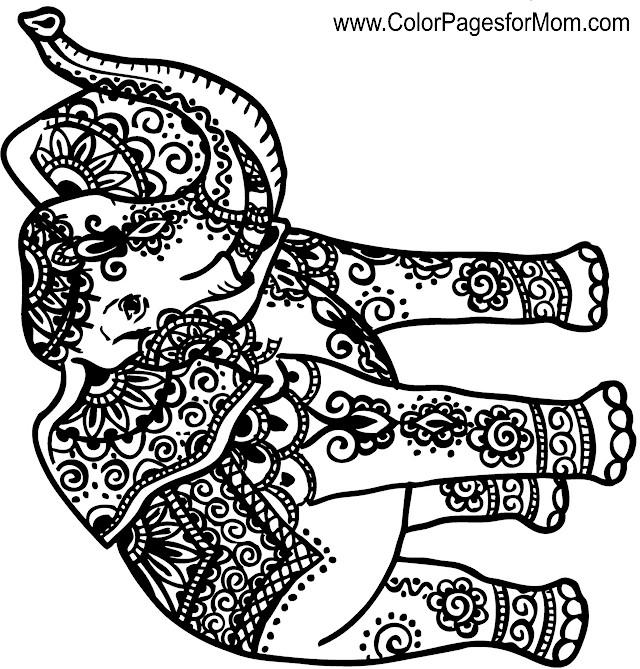 Advanced Coloring Pages Elephant : Animals advanced coloring pages