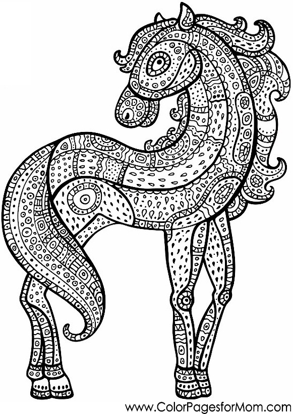 Advanced Coloring Pages Of Horses : Animals advanced coloring pages