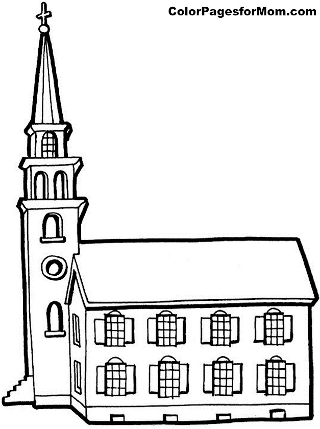 church coloring page 2
