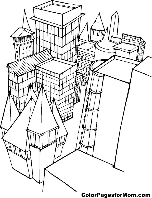 building coloring pages for adults - photo#24