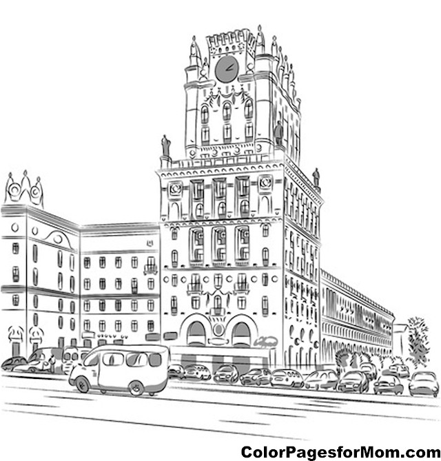 Coloring City Buildings Coloring Coloring Pages City Coloring Pages