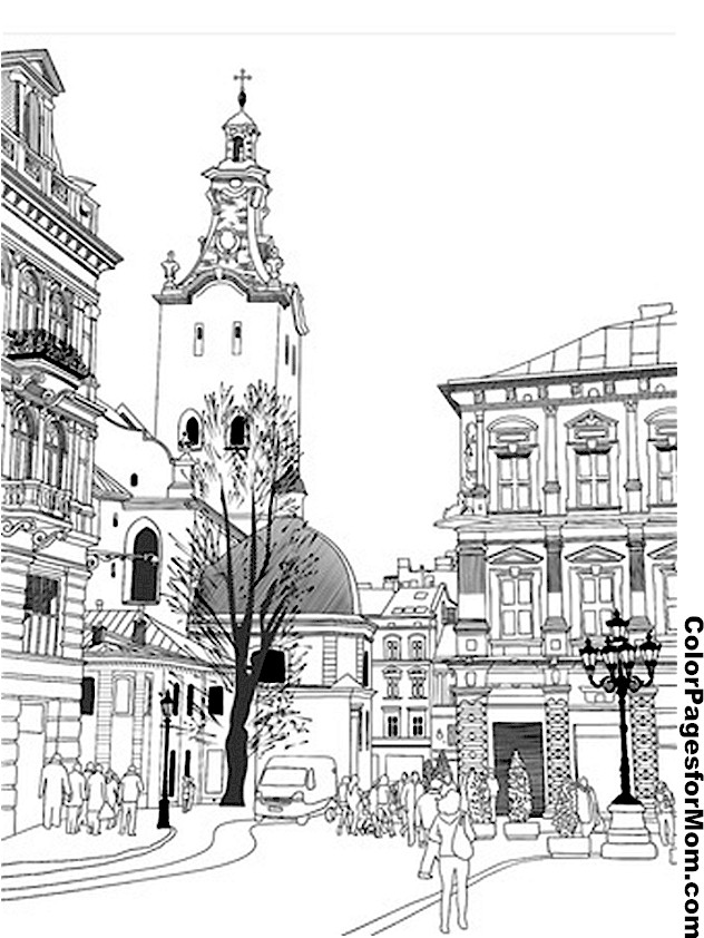 city building coloring pages - city coloring page 14