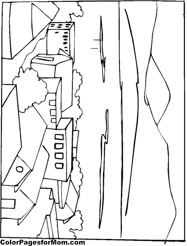 city building coloring page 3