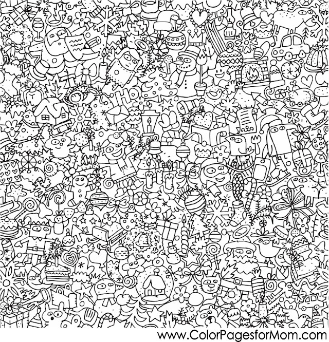 christmas detailed coloring pages | Christmas Coloring Pages - Christmas Collage