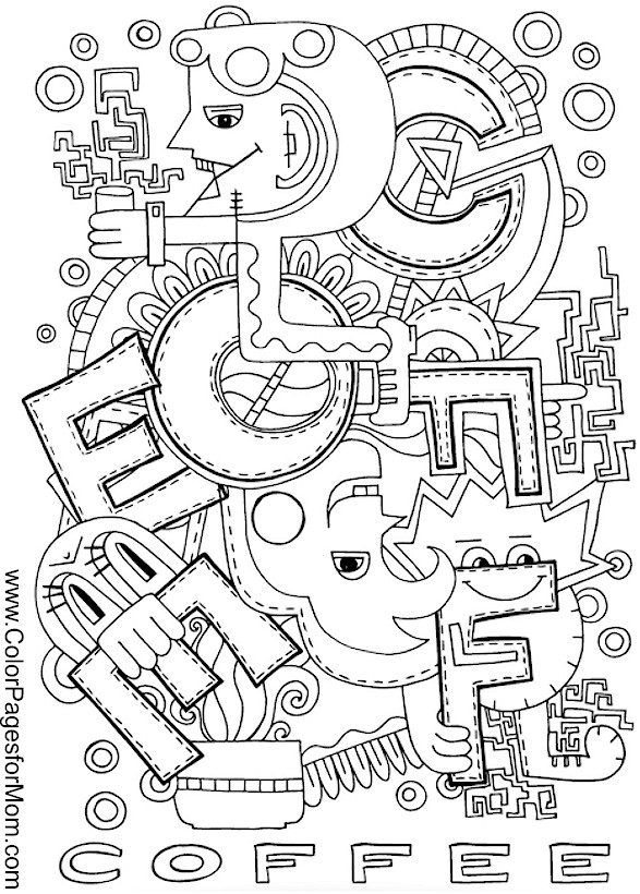 Advanced Coloring Pages Coffee coloring page 2