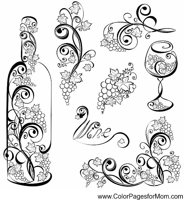 wine coloring book pages - photo#34