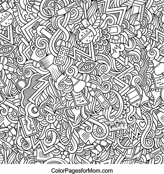 Doodles 21 Science and Medicine Advanced Coloring Page
