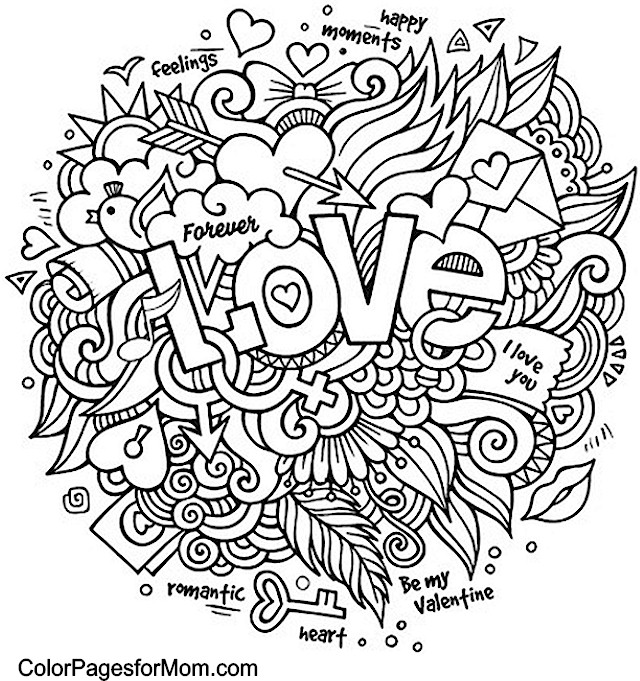 Advanced Valentine Coloring Pages : Doodles advanced coloring pages