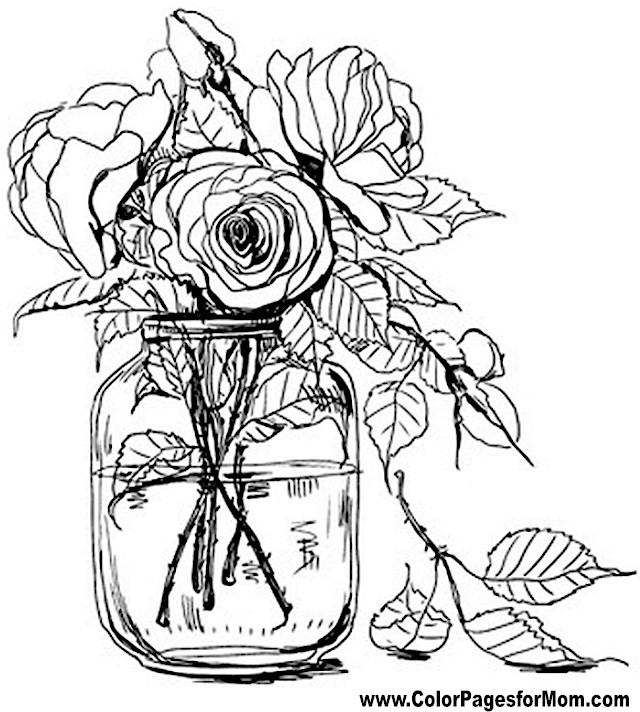 Coloring Pictures For Adults Flowers : Advanced Coloring Pages Flower Coloring Page 67