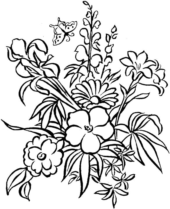 Free Printable Adult Coloring Pages Flower Coloring Pages - Coloring-pages-with-flowers