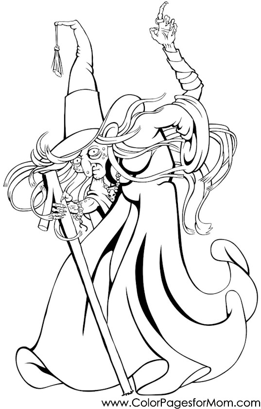 Advanced Coloring Pages Halloween Witch Coloring Page
