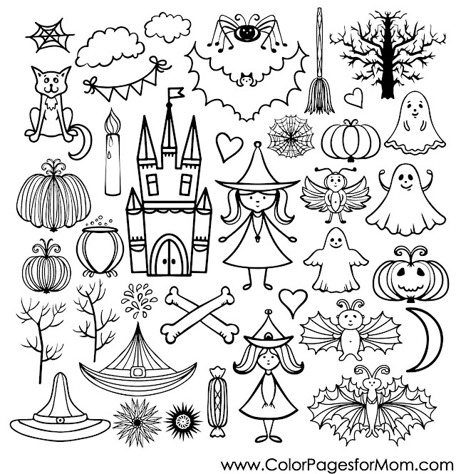 - Advanced Coloring Pages Halloween Collage Coloring Page