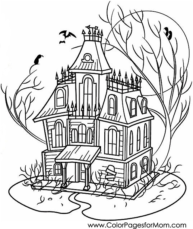 Coloring pages for adults halloween haunted house for Coloring pages of haunted houses