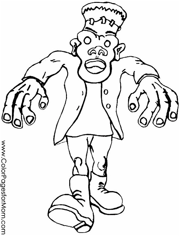 Halloween Coloring Pages Advanced : Advanced coloring pages halloween frankenstein page
