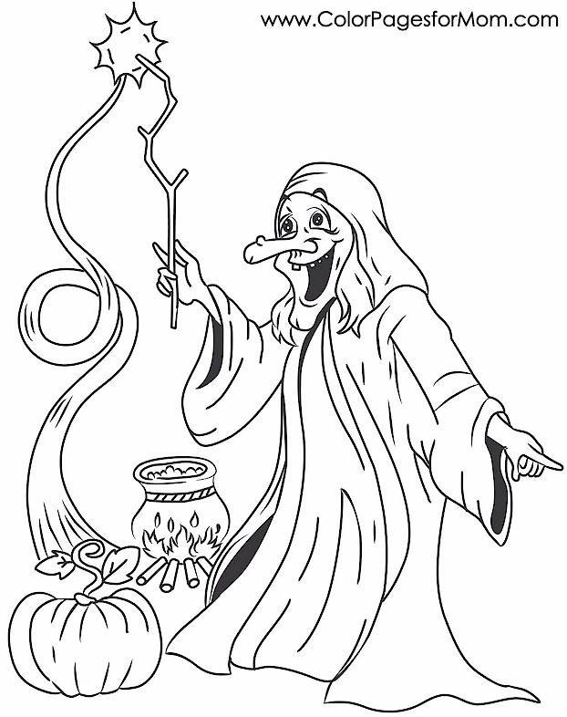 Halloween Coloring Pages Advanced : Advanced coloring pages halloween witch page