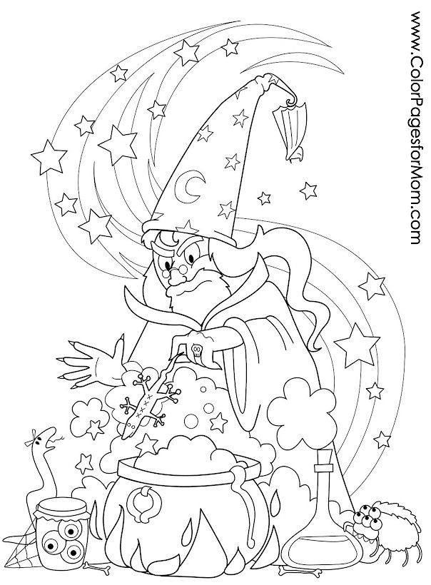 Halloween Coloring Pages Advanced : Advanced coloring pages halloween wizard brew page