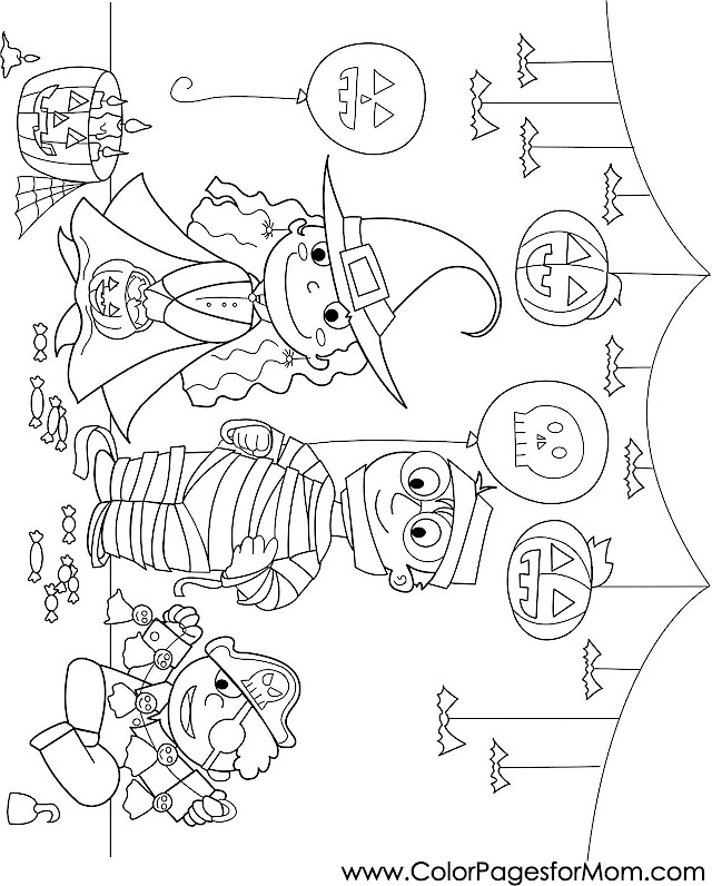 Halloween Coloring Pages Advanced : Advanced coloring pages halloween trick or treaters