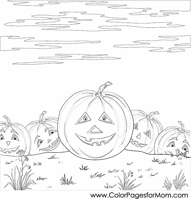 Advanced Coloring Pages Halloween Pumpkin Patch Coloring Page
