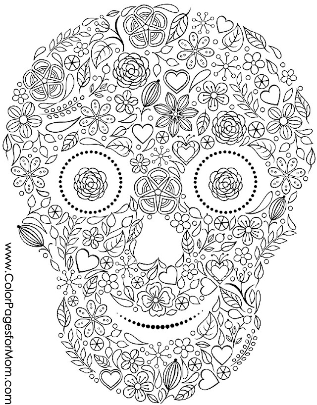 Coloring Pages For Advanced Colors : Advanced coloring pages halloween skull page