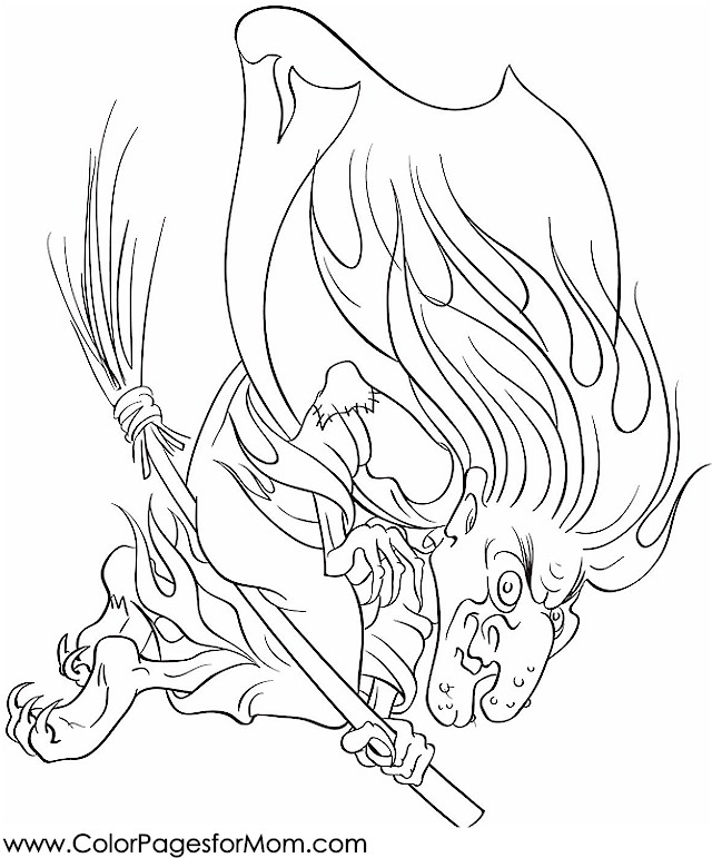 Coloring Pages For Advanced Colors : Advanced coloring pages halloween witch page