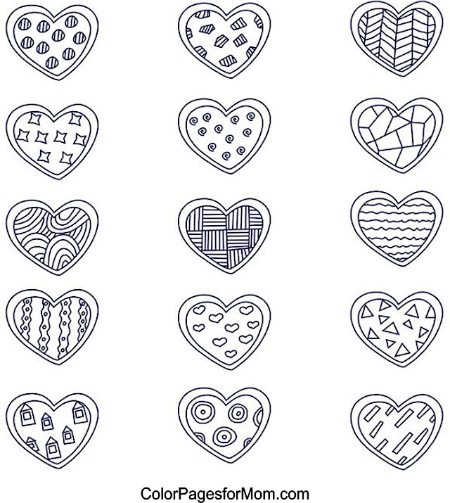 Hearts 11 Advanced Coloring Pages