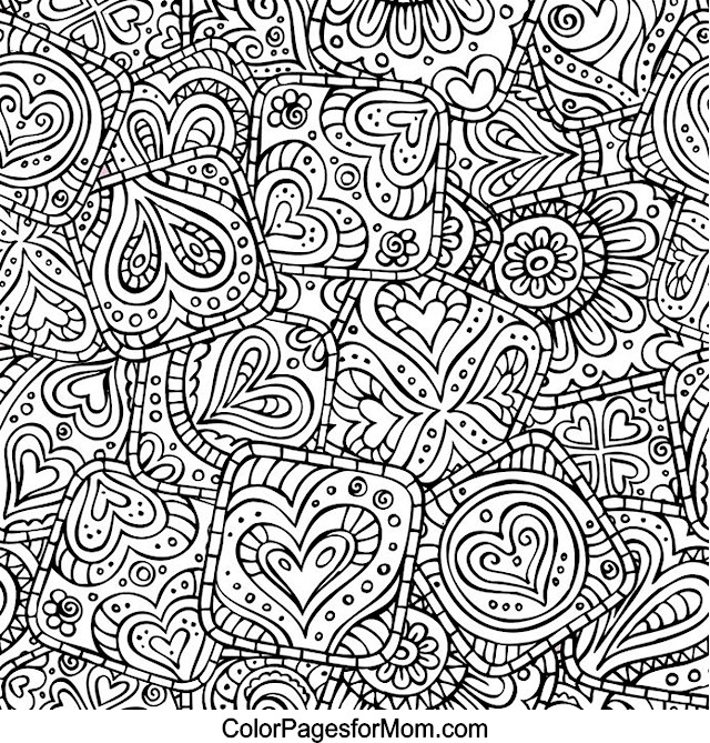 Coloring Pages Adults Hearts : Hearts 22 Advanced Coloring Page