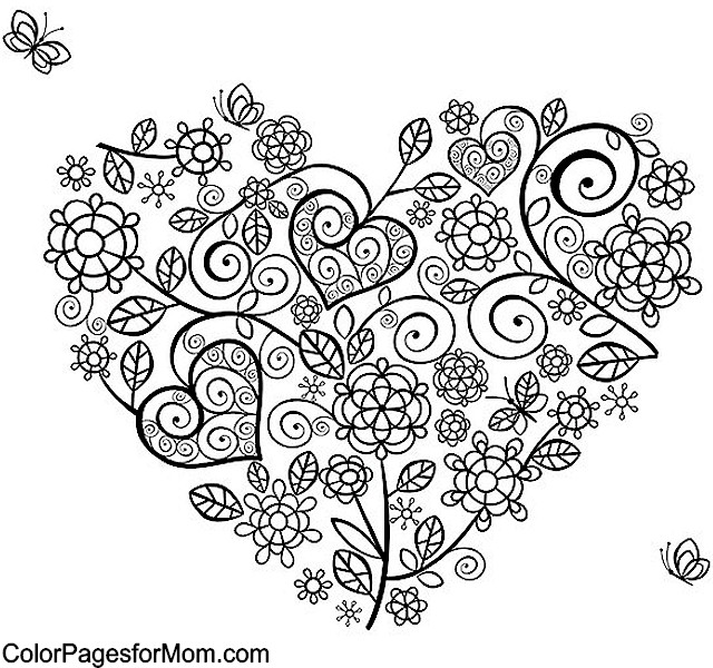 Coloring Pages Adults Hearts : Heart Coloring Pages For Adults Coloring Pages