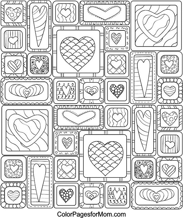 Advanced Valentine Coloring Pages : Hearts advanced coloring pages