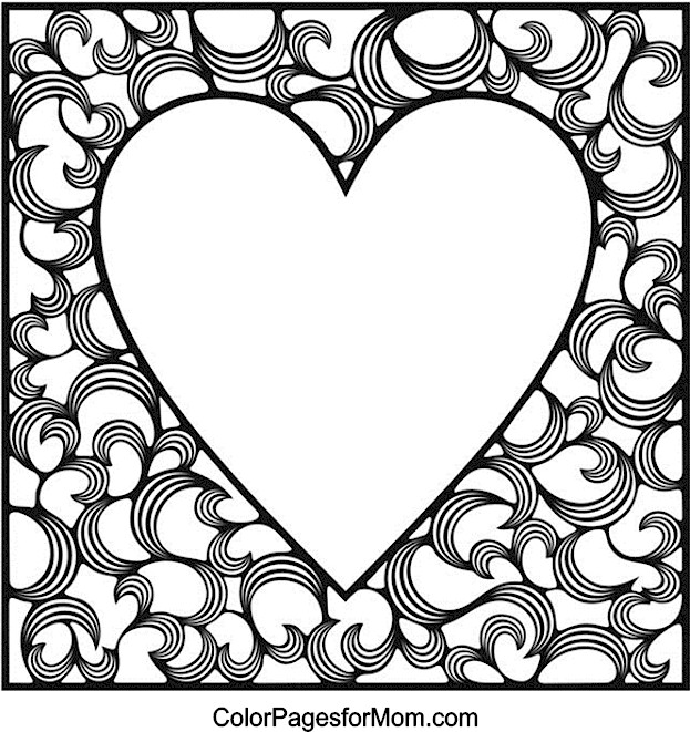 Hearts 4 Advanced Coloring Page