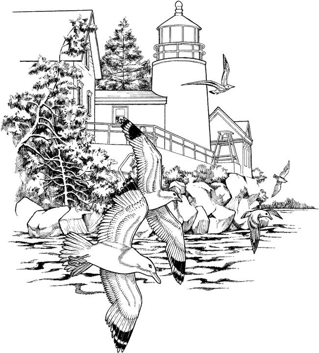 detailed landscape coloring pages for adults | Landscape Coloring Page