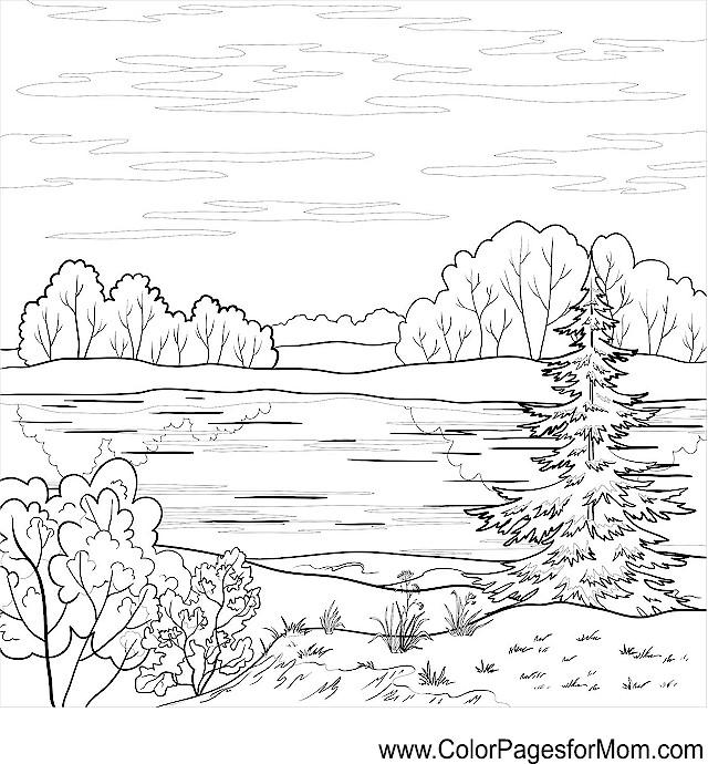 Advanced Landscape Coloring Pages : Landscape coloring page