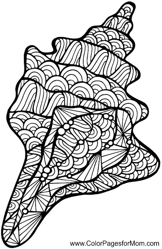 Virtual Coloring Pages For Adults : Seascape ocean coloring page