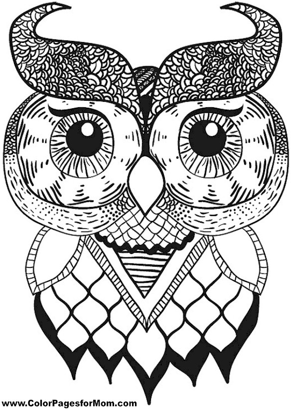 Free Coloring Pages Of Owls Adults