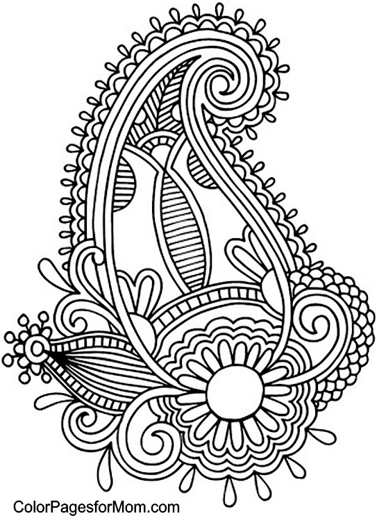 Paisley print coloring sheets of flowers to coloring pages for Paisley print coloring pages