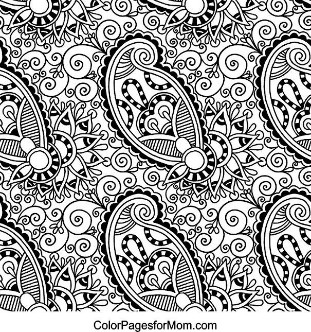 Free coloring pages of e paisley for Paisley elephant coloring pages