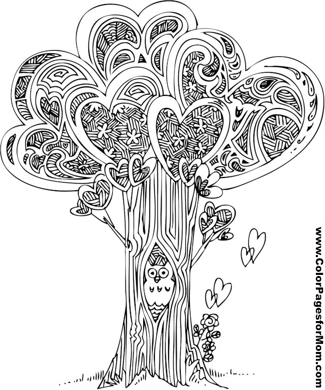 Coloring Pages For Adults Trees : Tree coloring page