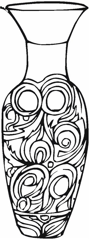 flower vase design coloring pages - photo#33