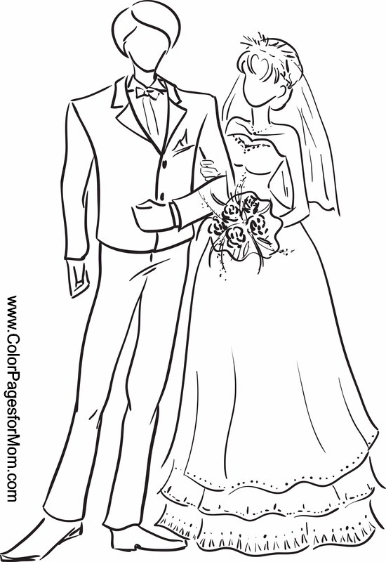 Line Art Wedding : Wedding coloring page