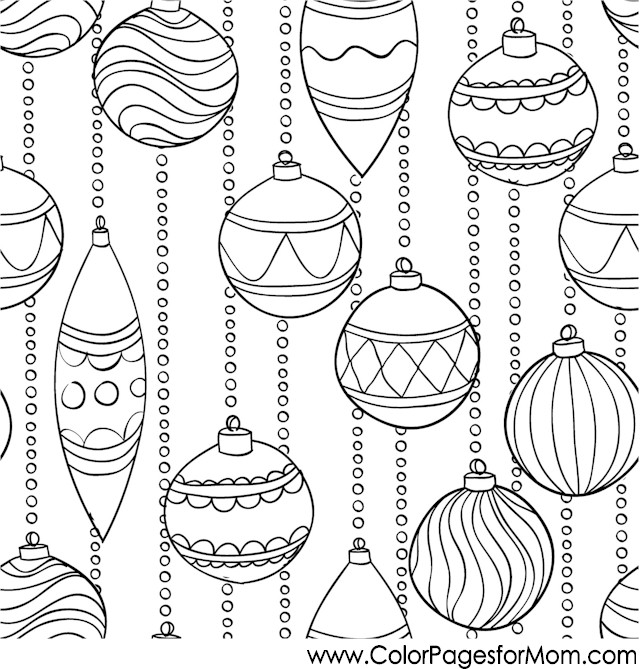 Christmas Coloring Page for Adults - Christmas Ornaments