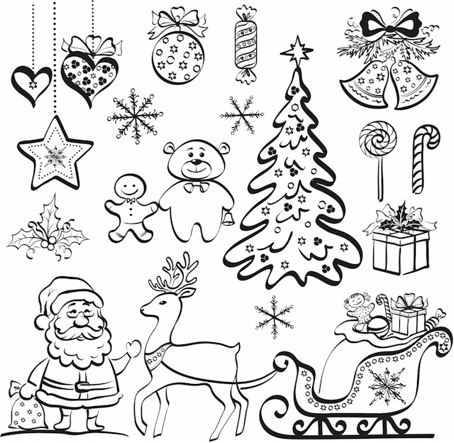 Christmas Coloring Page For Adults Christmas Collage