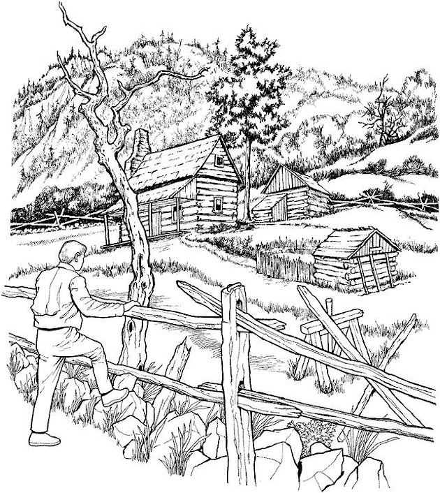 Landscape Coloring Page And The Coloring Page