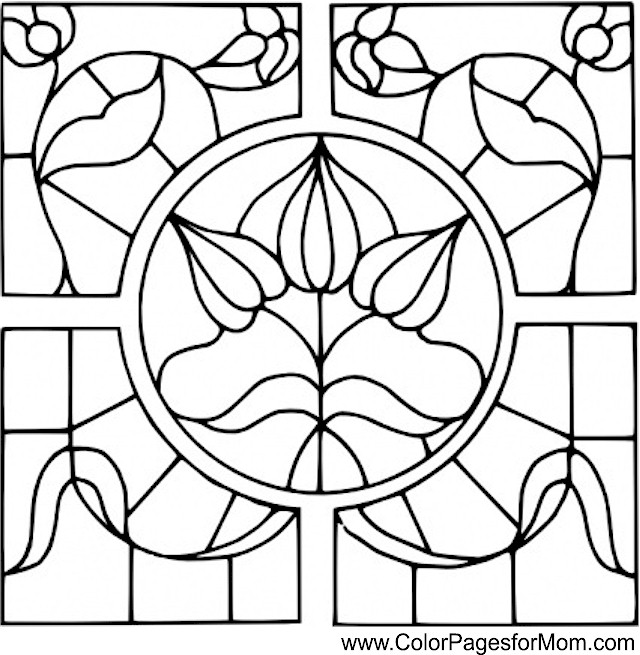Coloring pages for adults - stained glass coloring page 12