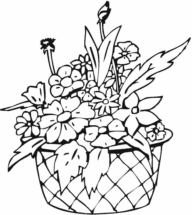 Basket with Roses Coloring Page - Free Coloring Pages Online | 705x630