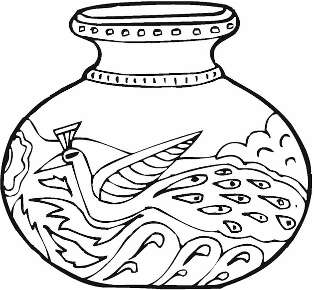 Coloring Pages Vase : Vase pottery coloring page